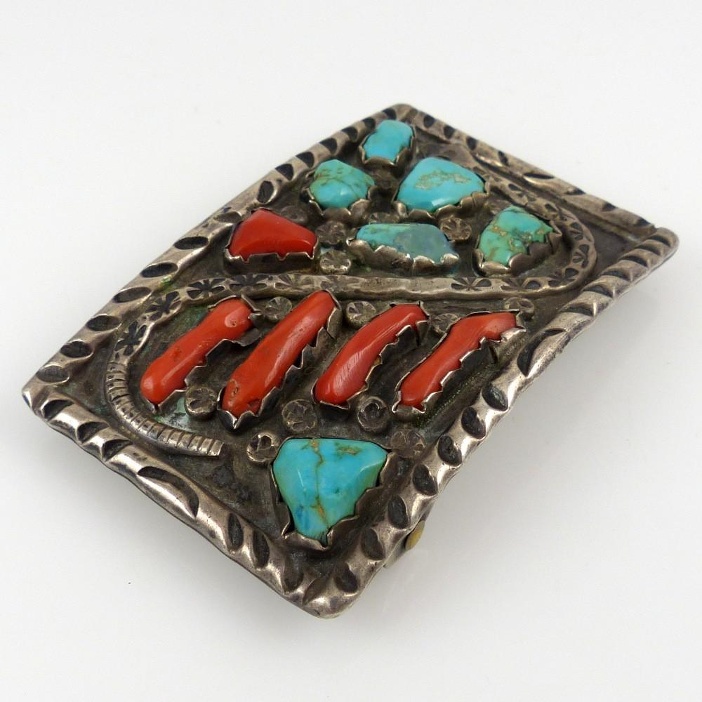 1970s Coral and Turquoise Buckle - Jewelry - Angie Calavaza - 1
