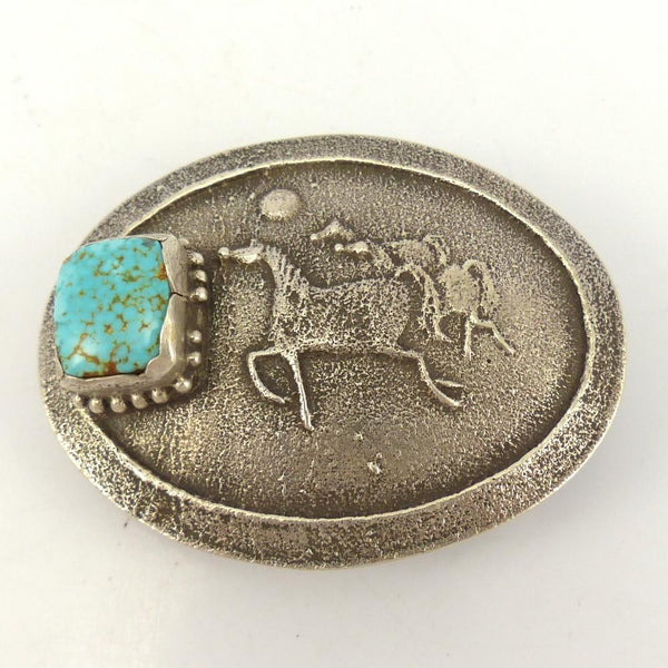 Number Eight Turquoise Horse Buckle