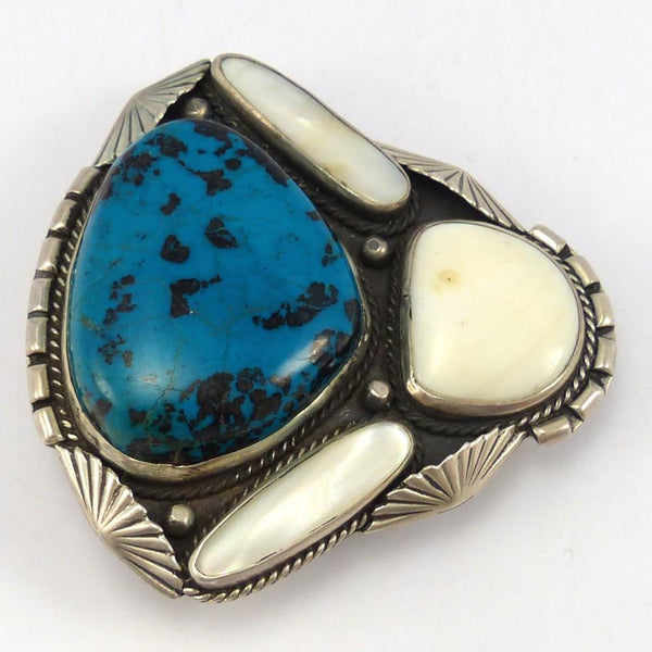 1970s Chrysocolla and Shell Buckle, Roy Vandever, Jewelry, Garland's Indian Jewelry