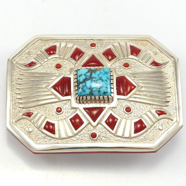 Kingman Turquoise and Coral Buckle, Michael Perry, Jewelry, Garland's Indian Jewelry