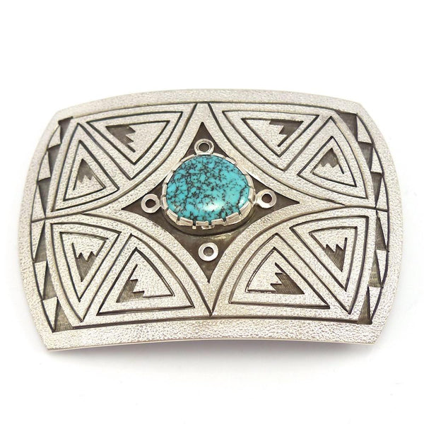 Lone Mountain Turquoise Buckle, Phil Poseyesva, Jewelry, Garland's Indian Jewelry