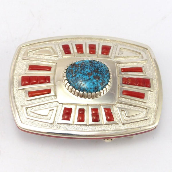 Morenci Turquoise and Coral Buckle, Michael Perry, Jewelry, Garland's Indian Jewelry
