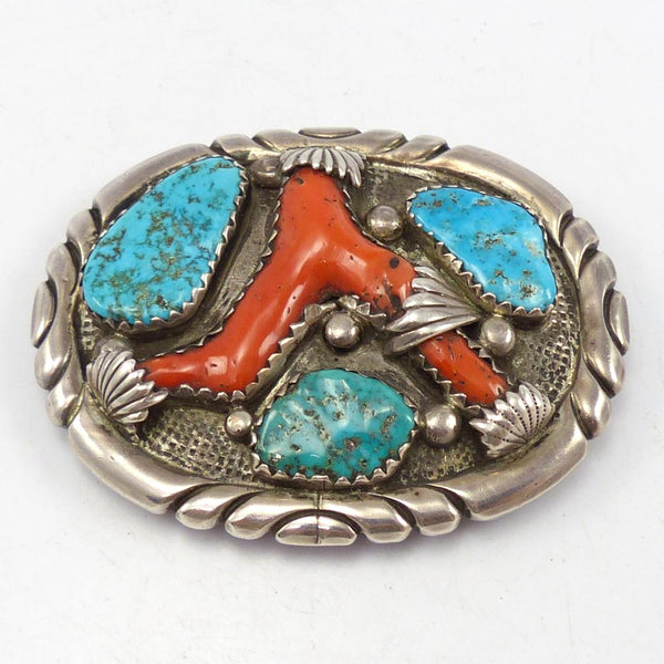 1970s Turquoise and Coral Buckle