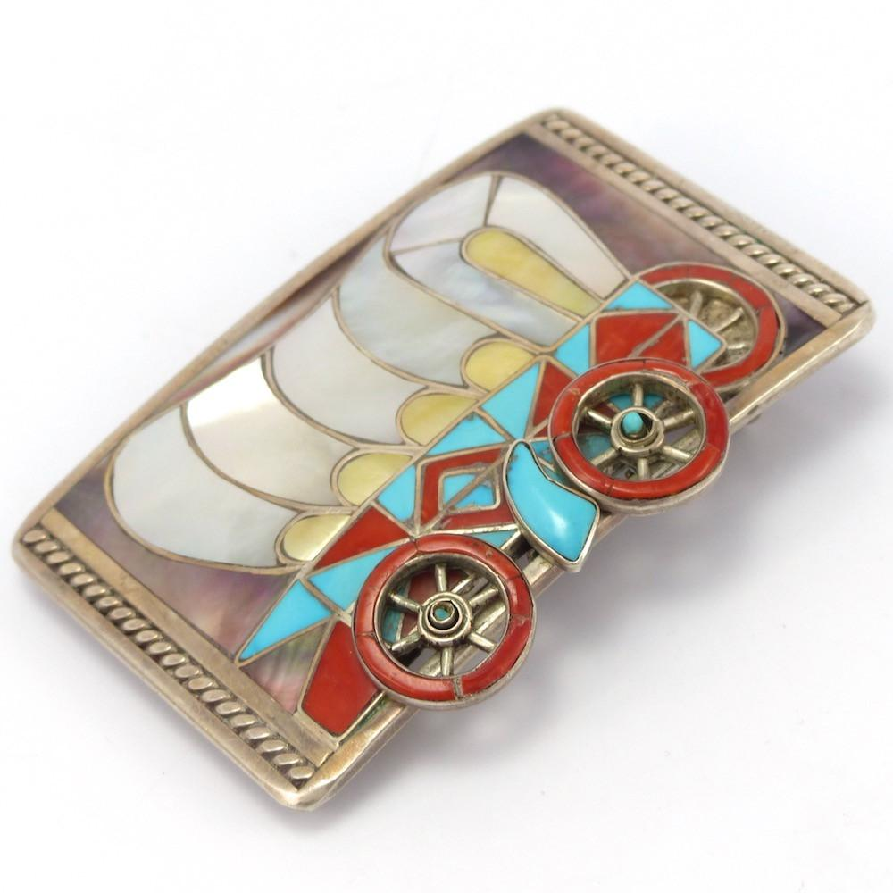 1970s Covered Wagon Buckle, Helen and Lincoln Zunie, Jewelry, Garland's Indian Jewelry