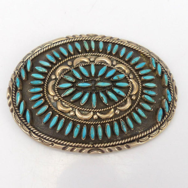 1970s Turquoise Needlepoint Buckle, Valentino and Matilda Banteah, Jewelry, Garland's Indian Jewelry