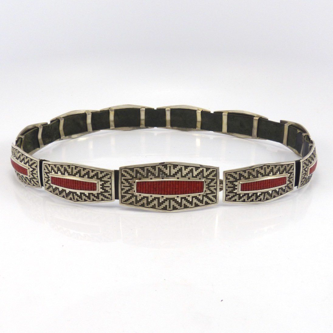 Coral Concha Belt, Dan Jackson, Jewelry, Garland's Indian Jewelry