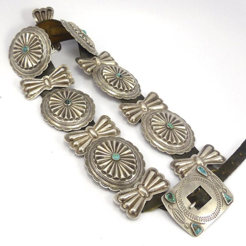 1950s Concha Belt with Bisbee Turquoise, Vintage Collection, Jewelry, Garland's Indian Jewelry