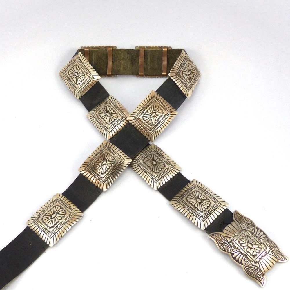 Stamped Silver Concha Belt