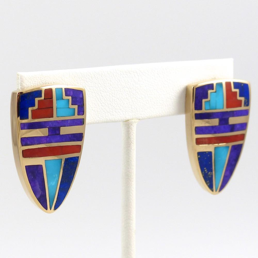 Gold Inlay Earrings - Jewelry - Kimberly Kirk - 1