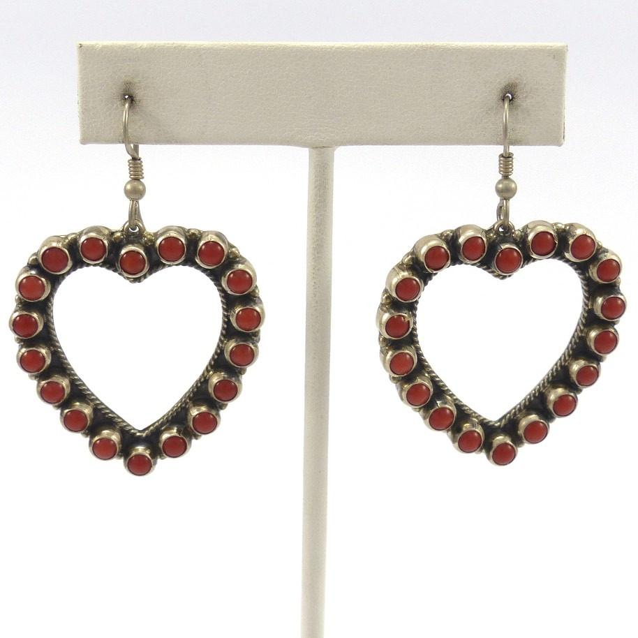 Coral Heart Earrings, Don Lucas, Jewelry, Garland's Indian Jewelry