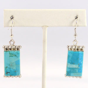 Turquoise Inlay Earrings - Jewelry - Bryon Yellowhorse - 1