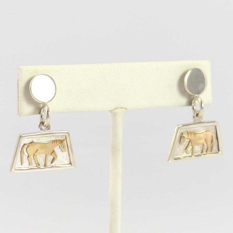 Gold on Silver Horse Earrings - Jewelry - Robert Taylor - 2