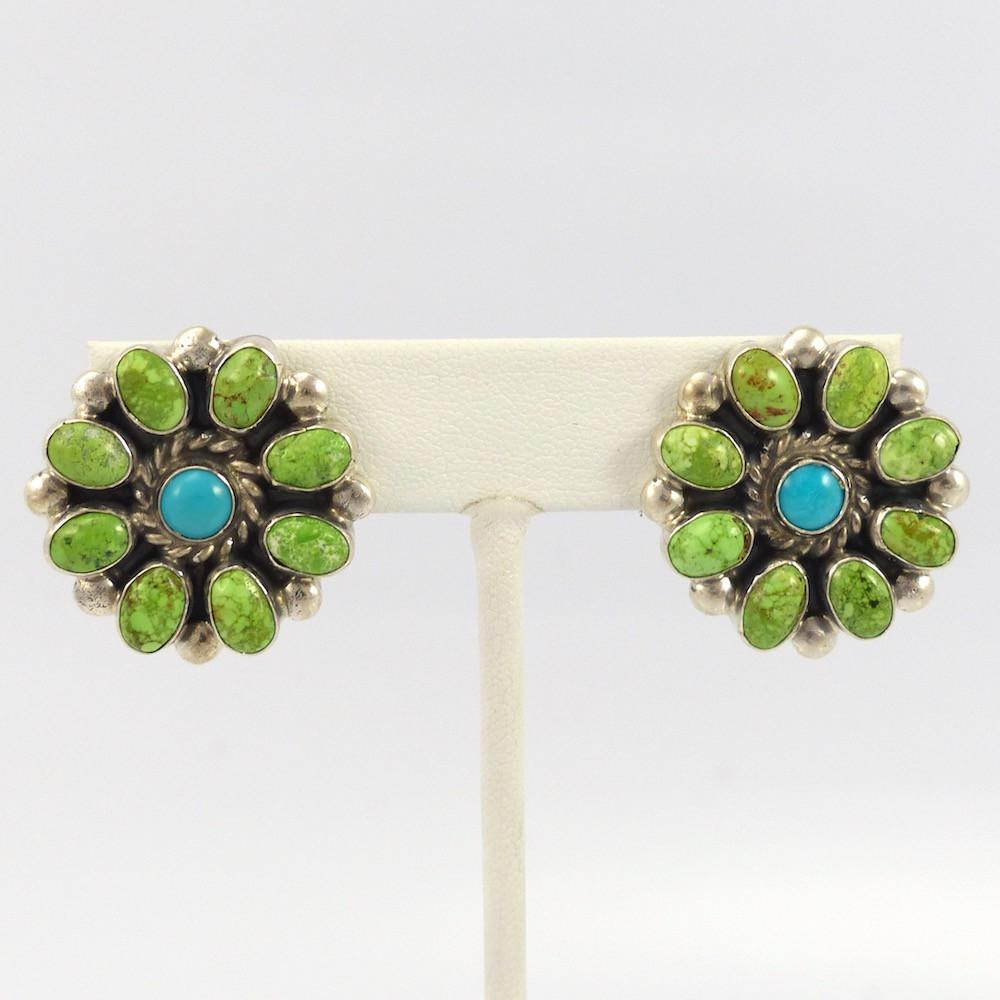 Turquoise and Gaspeite Earrings - Jewelry - Don Lucas - 1