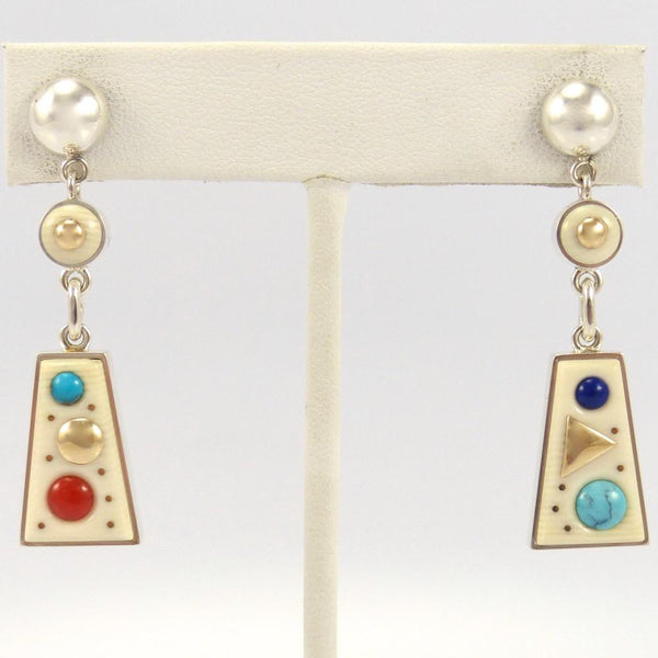 Cobbled Inlay Earrings, Boyd Tsosie, Jewelry, Garland's Indian Jewelry