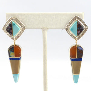 Multi-Stone Inlay Earrings, Duane Maktima, Jewelry, Garland's Indian Jewelry
