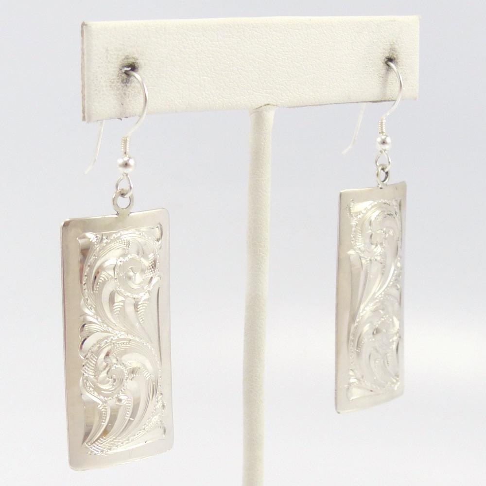 Silver Engraved Earrings, Leonard Nez, Jewelry, Garland's Indian Jewelry