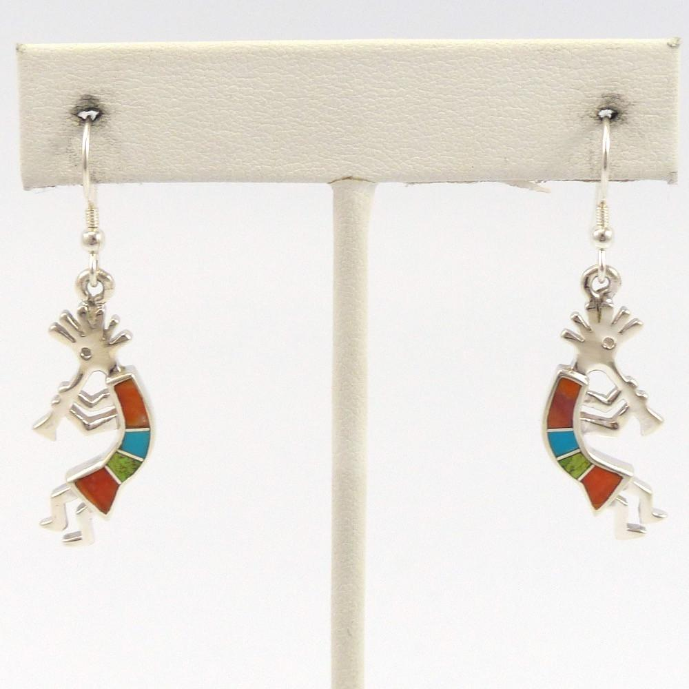 Inlaid Kokopelli Earrings, Tim Charley, Jewelry, Garland's Indian Jewelry