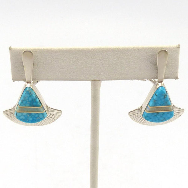 Inlay Fan Earrings, Duane Maktima, Jewelry, Garland's Indian Jewelry