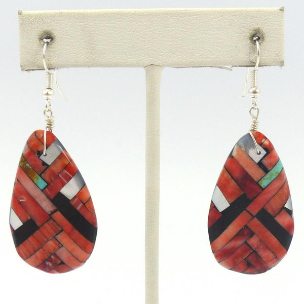 Inlay Earrings, Joe and Angie Reano, Jewelry, Garland's Indian Jewelry