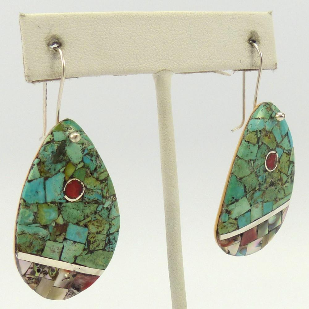 Multi-Stone Inlay Earrings, Mary Coriz and John Aguilar, Jewelry, Garland's Indian Jewelry