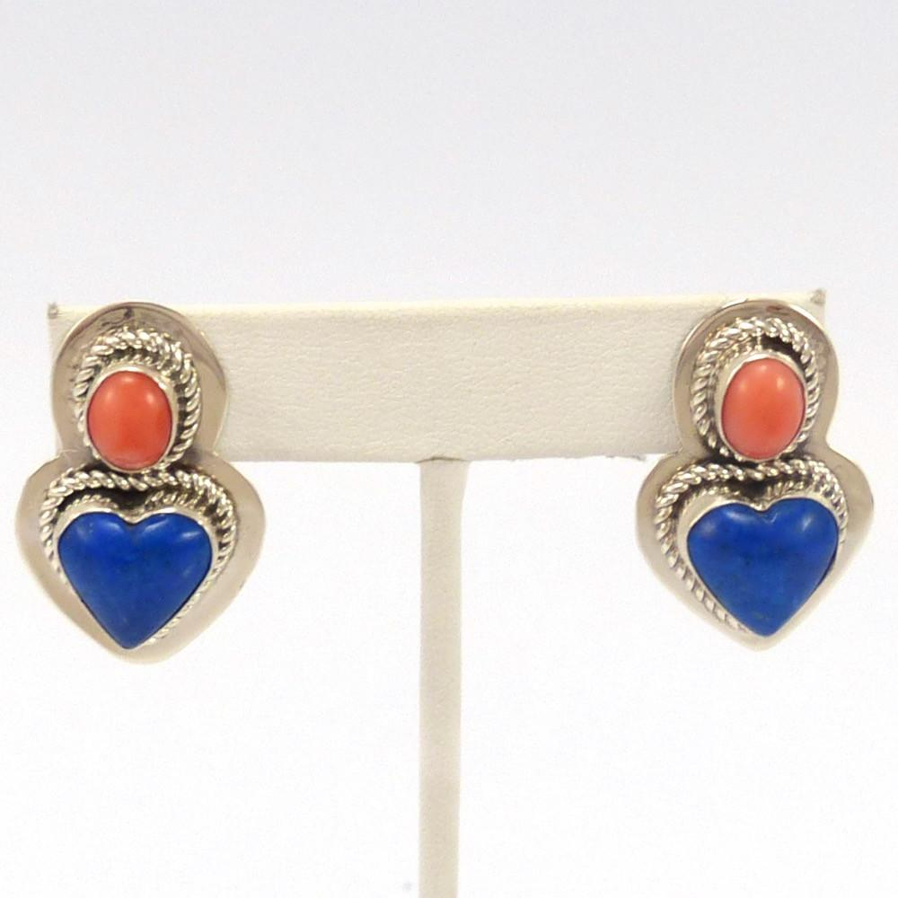 Coral and Lapis Earrings, Veronica Yellowhorse, Jewelry, Garland's Indian Jewelry