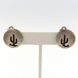 Saguaro Clip Earrings, Rick Manuel, Jewelry, Garland's Indian Jewelry