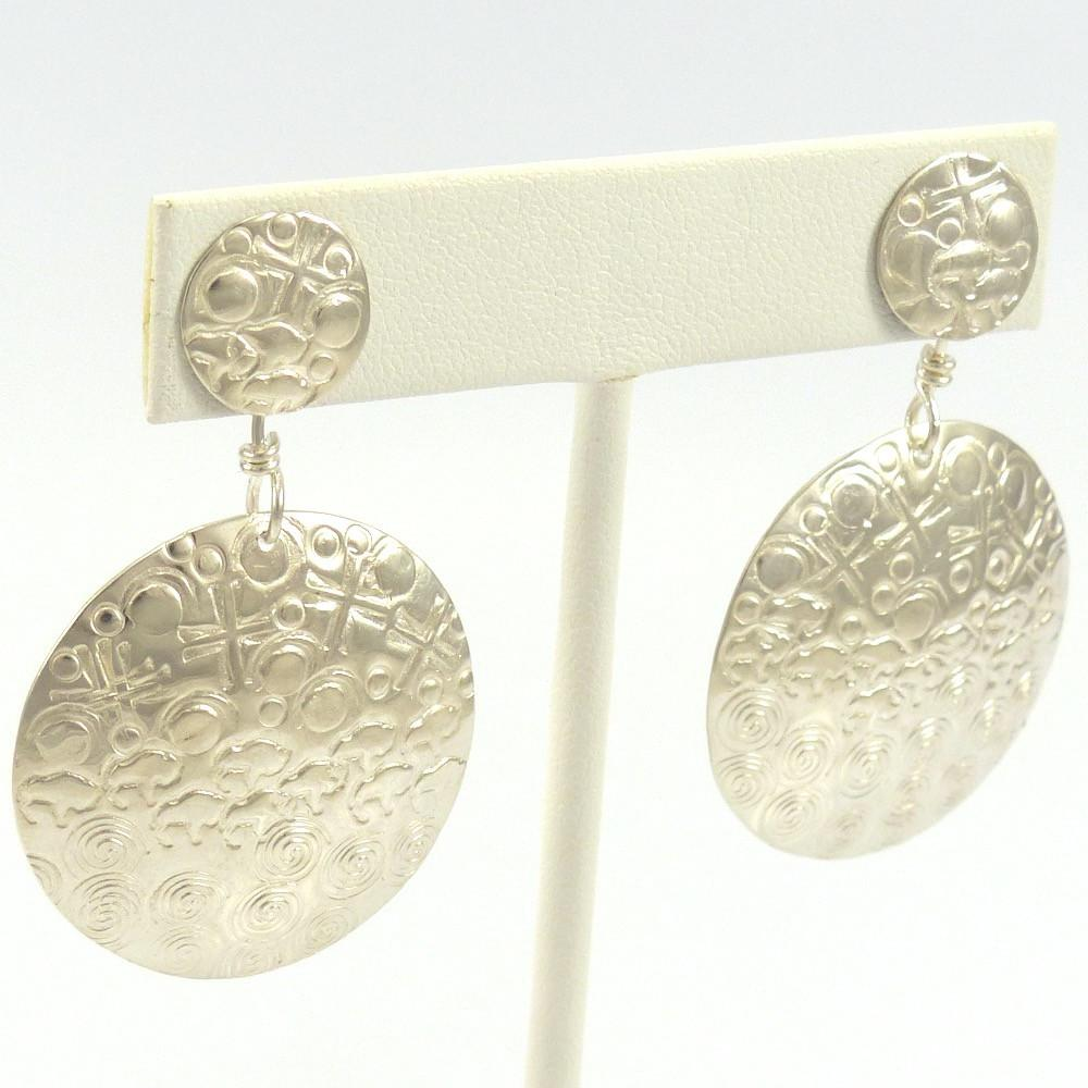 Stamped Silver Earrings, Elk Woman, Jewelry, Garland's Indian Jewelry