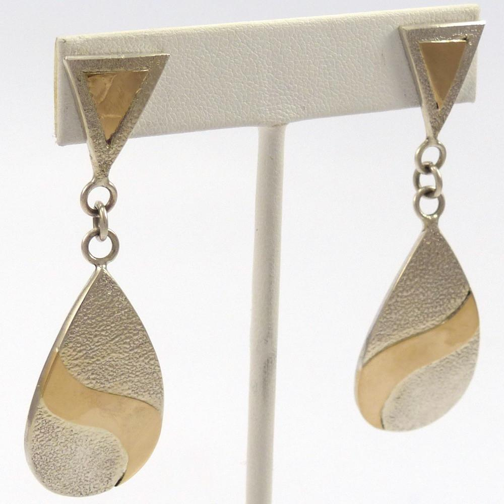 Gold and Silver Earrings, Philbert Poleyestewa, Jewelry, Garland's Indian Jewelry