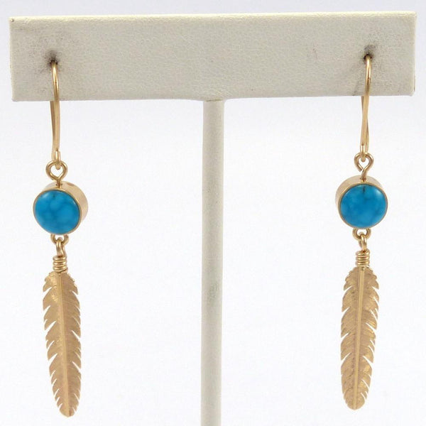 Gold Feather Earrings, Boyd Tsosie, Jewelry, Garland's Indian Jewelry