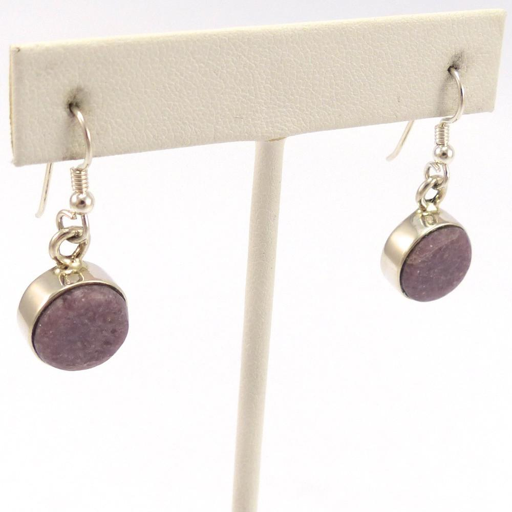 Lepidolite Earrings, Michael and Causandra Dukepoo, Jewelry, Garland's Indian Jewelry