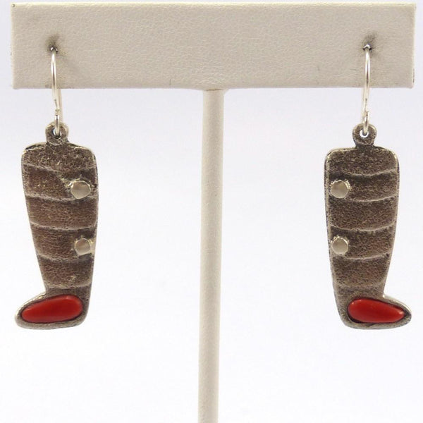 Coral Moccasin Earrings, Lee Begay, Jewelry, Garland's Indian Jewelry