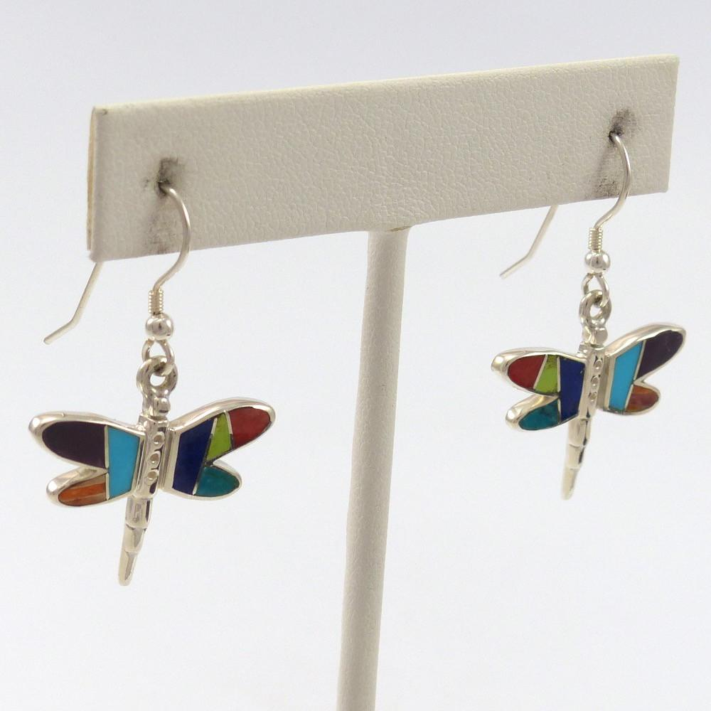 Dragonfly Inlay Earrings, Tim Charley, Jewelry, Garland's Indian Jewelry