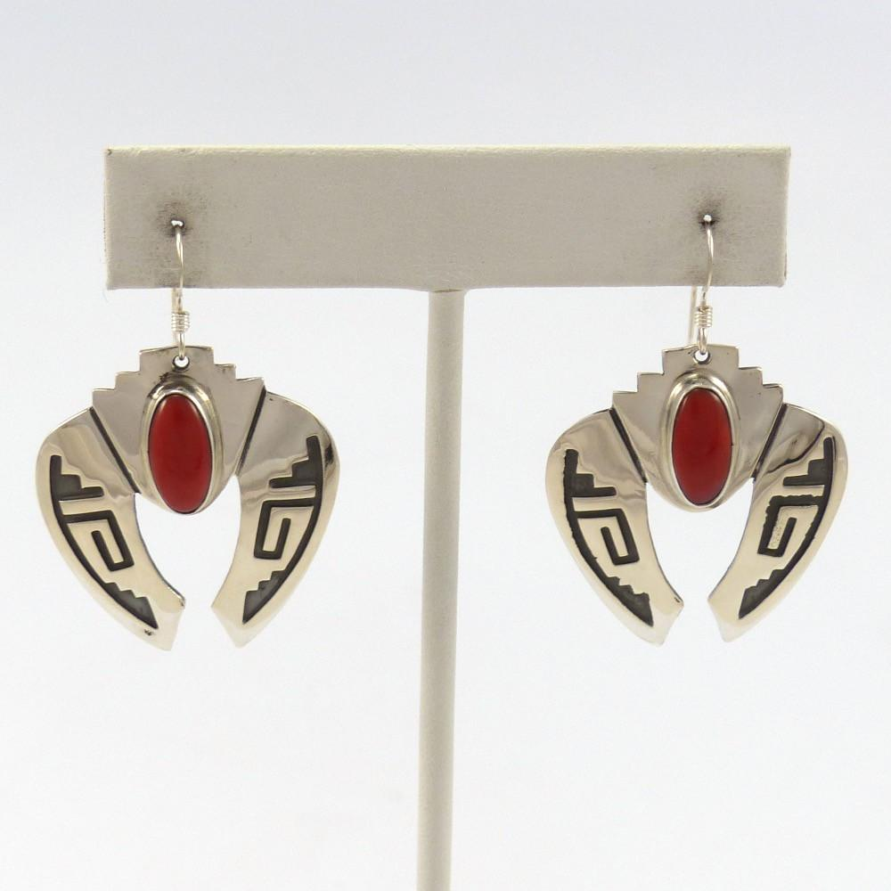 Coral Earrings, Mary and Everett Teller, Jewelry, Garland's Indian Jewelry