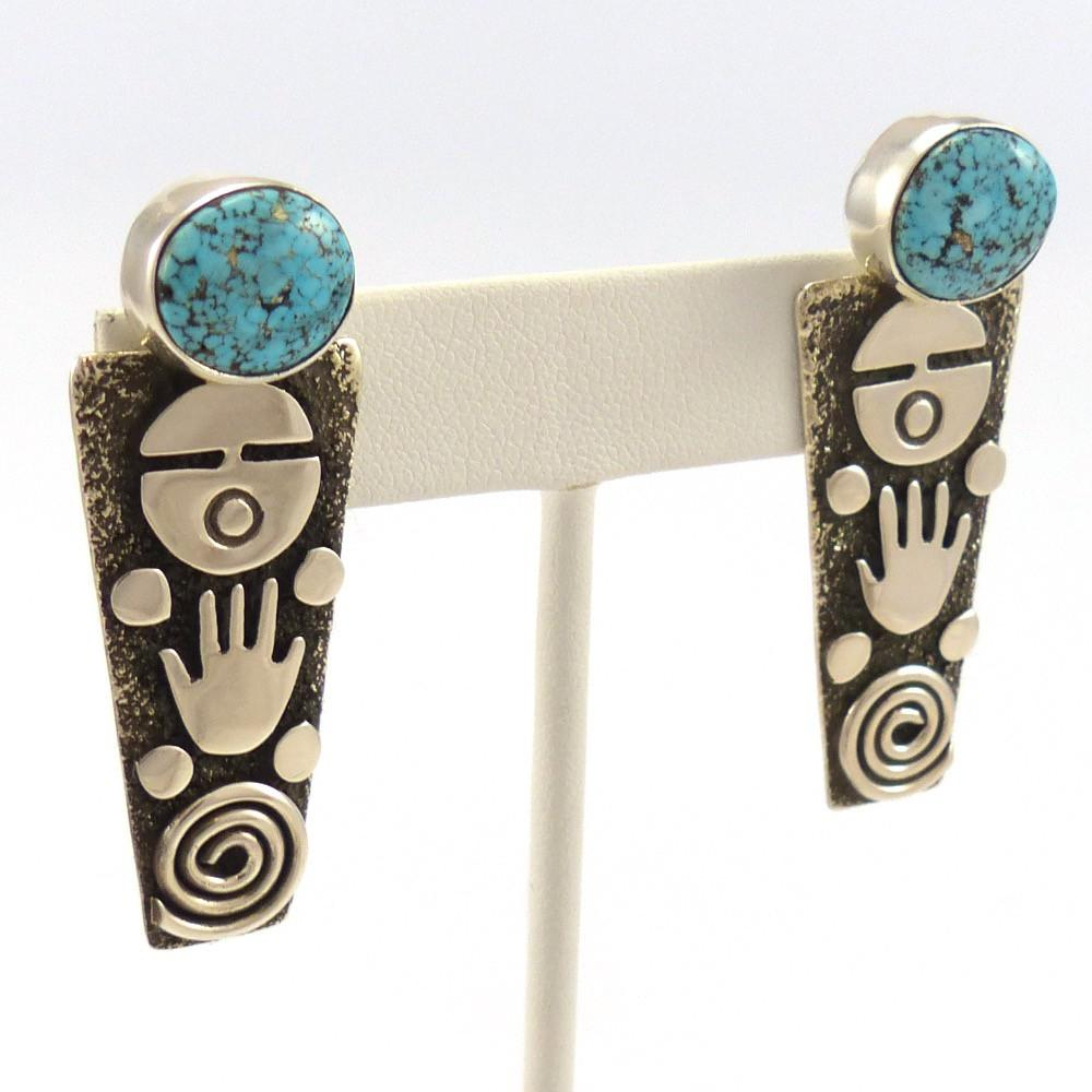 Kingman Turquoise Earrings, Alex Sanchez, Jewelry, Garland's Indian Jewelry