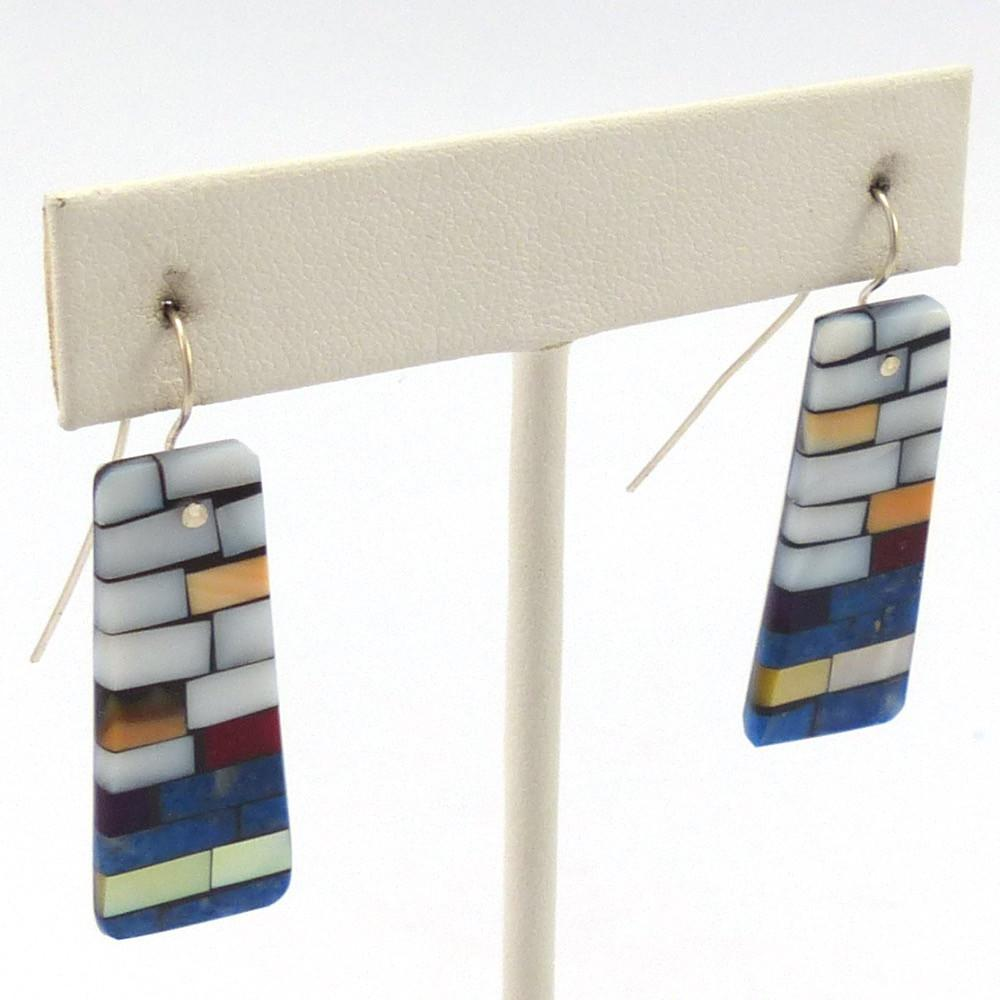 Inlay on Shell Earrings, Charlene Reano, Jewelry, Garland's Indian Jewelry