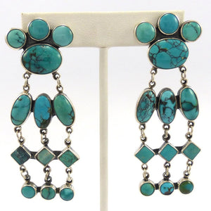 Chinese Turquoise Earrings, Federico, Jewelry, Garland's Indian Jewelry