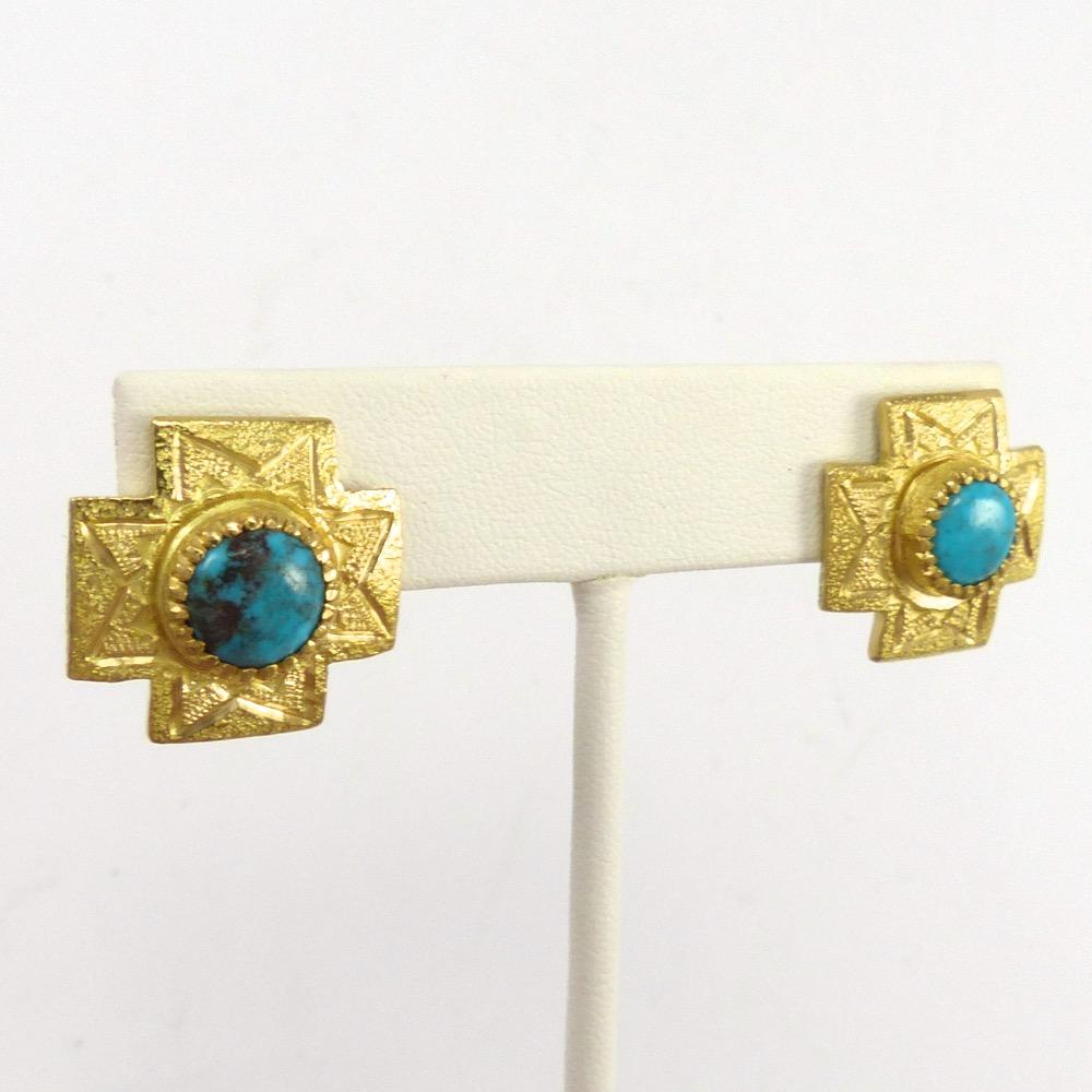 Bisbee Turquoise and Gold Earrigs, Kenneth Johnson, Jewelry, Garland's Indian Jewelry