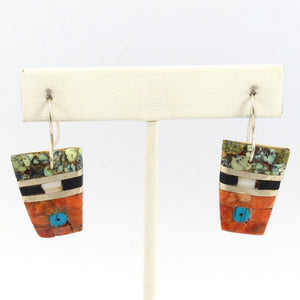 Inlay Earrings, Mary Lovato, Jewelry, Garland's Indian Jewelry