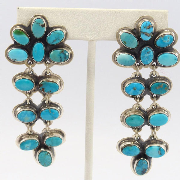 Blue Gem Turquoise Clip Earrings