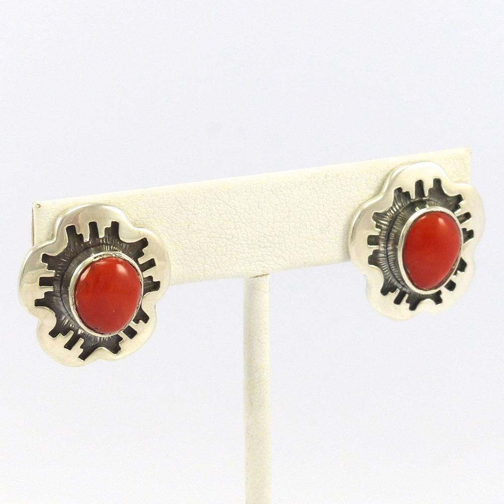 Coral Earrings, Dina Huntinghorse, Jewelry, Garland's Indian Jewelry