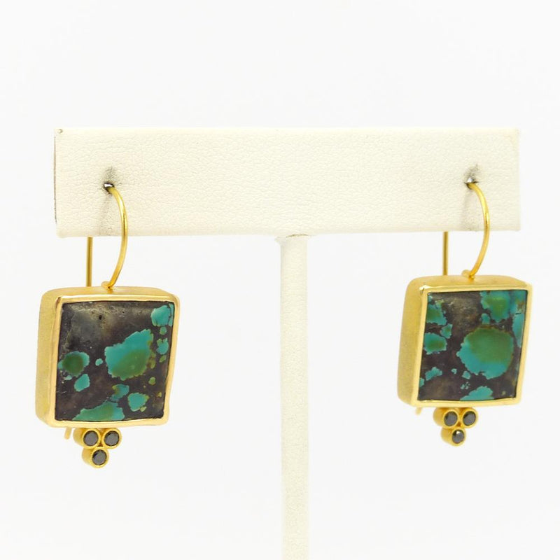 Turquoise and Gold Earrings