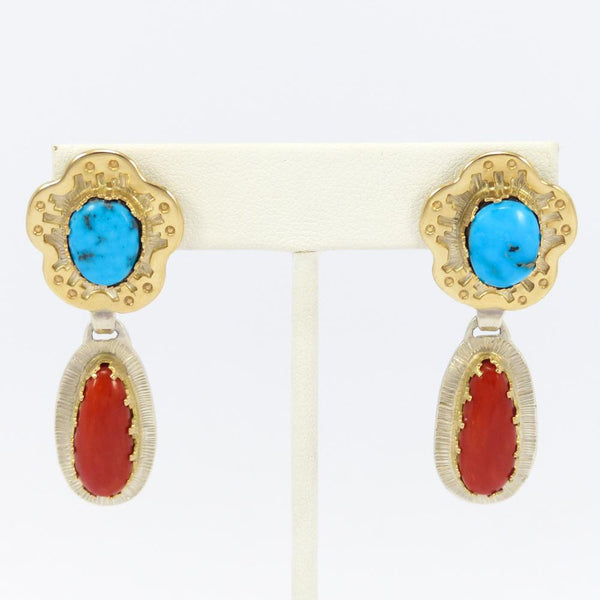 Turquoise, Coral, and Gold Earrings