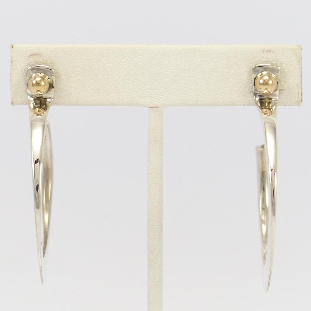 Gold on Silver Hoop Earrings