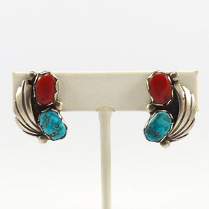 Turquoise and Coral Clip Earrings