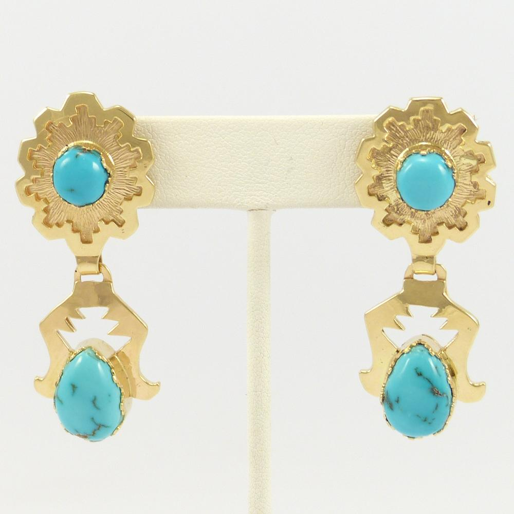 Gold Earrings with Burnham Turquoise