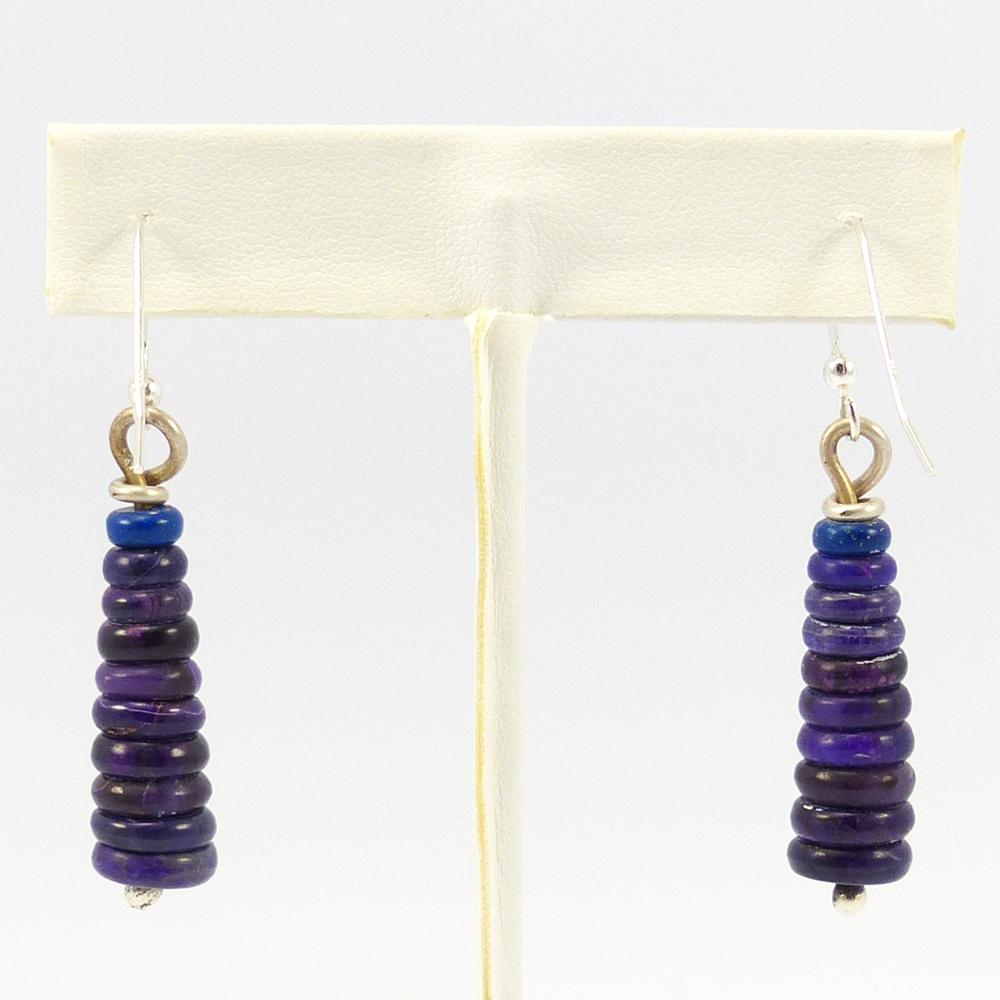 Sugilite and Lapis Bead Earrings