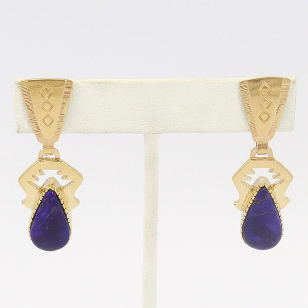 Gold and Sugilite Earrings