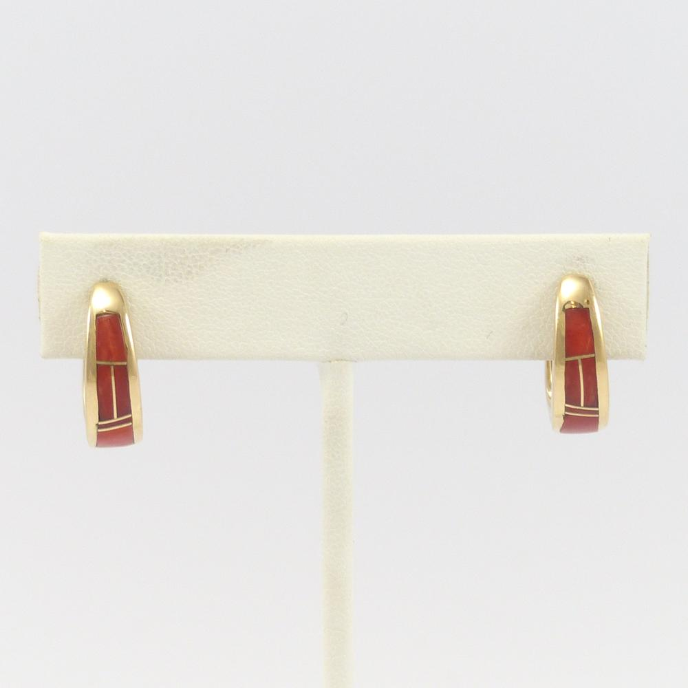 Coral and Gold Huggie Earrings