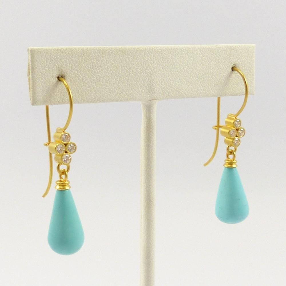 Turquoise and Diamond Dangle Earrings