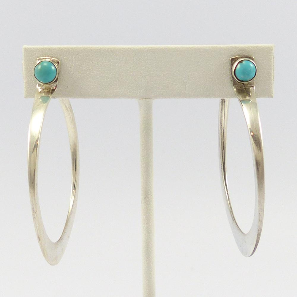 Kingman Turquoise Hoop Earrings